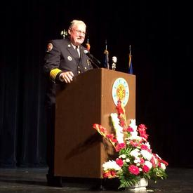 Pictured: President Corkery addressing the New York State Association of Fire Chiefs after his installation.