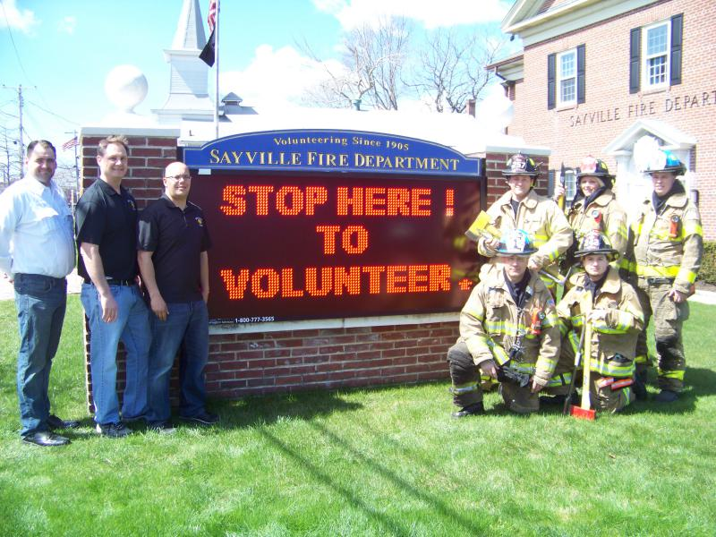 (standing left to right)  2nd Asst. Chief Walter Reutlinger, 1st Asst. Chief William Roderka, Chief of Department Christopher Chester, Firefighter Jeff Wagner, Firefighter Tara Ruland and Lt. Alec Reutter.  (Kneeling)  Lt. Craig Fazio and Firefighter Vin Frontino.